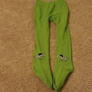 Girl's Green Tights with Zebras medium-large